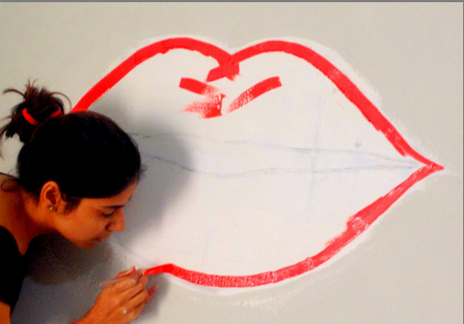 Lips Art wall paint