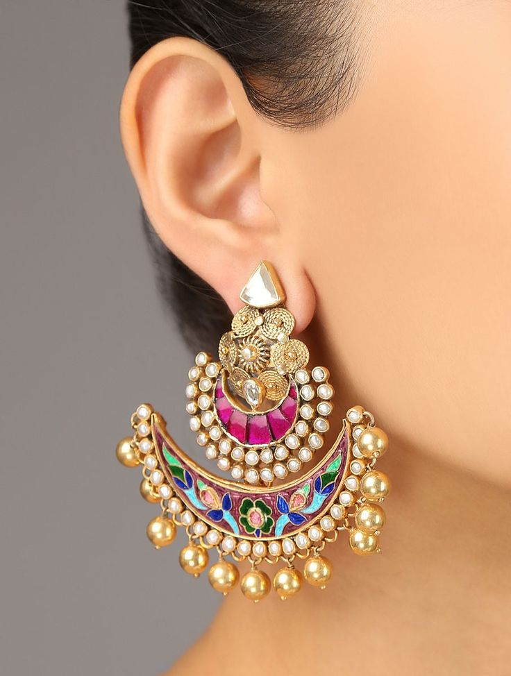 Latest Chandbali earrings designs, Ethnic jewellery, Round earrings, Heavy Earrings, jhumke, Punjabi Earrings, Indian Jewelry