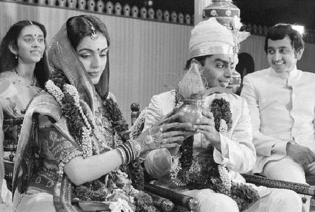 Mukesh Ambani & Tina Ambani marriage photos