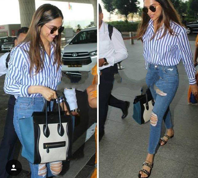 Deepika padukone Stripes Shirt airport look