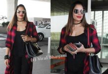 Bipasha basu, airport look, celebrities. longline shorts, black jeggings, white sports shoes, choker, red check shirt